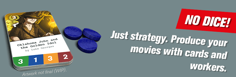 No dice! Just strategy. Produce your movies with cards and workers.